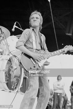 Singer and guitarist Steve Marriott performing with British rock group Humble Pie at the Summer of '74 oneday festival held at Charlton Athletic's...