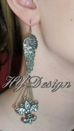 Earrings.  Wings, Fleur-de-lis, Silver, Feathers, Crystal Rhinestones.  Fashion, Edgy, trendy, custom, Glam, sparkle, bling. Handmade jewelry #HYD