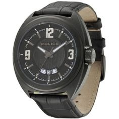 Police - Mens Black Leather Gambler Watch - 13404JSB-02  RRP: £135.00 Online price: £81.00 You Save: £54.00 (40%)  www.lingraywatches.co.uk Black Stainless Steel, Stainless Steel Watch, Police Watches, Watch Faces, Brass Metal, Black Leather, Band, Stylish, Police Police
