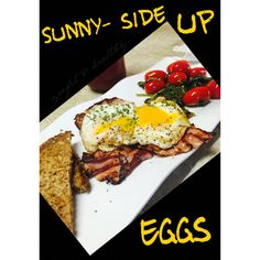 Sunny side up eggs for breakfast.    In a small skillet over medium high , spray non-stick cooking spray, crack 2 eggs, season with salt and pepper. Once the white is no longer transparent, pour 1 tbsp of water around the egg and cover skillet with lid for about 1 min.   Remove from heat and serve with spinach,  cherry tomatoes, grilled turkey ham and 12 grain ezekiel slice of bread .