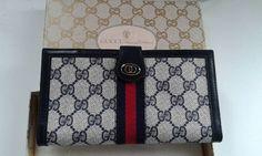 Gucci vintage navy blue GG monogram wallet / purse