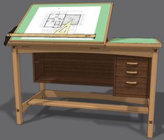 drafting tables | Free Drafting Table Plans | Woodworking Project Plans - my old drafting table is metal and I wouldn't take a million for it... once a draftsman, always a draftsman... can't function without it... ;-)