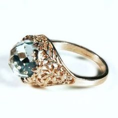 Gold Antique Green Amethyst Ring