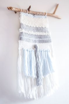 Woven wall hanging white grey and blue by Petitespelotes on Etsy