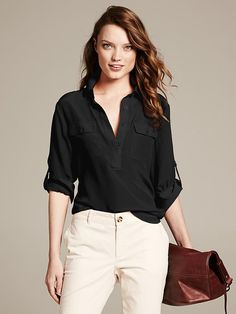 $89.50 -- -Silk Utility Blouse - Shirts