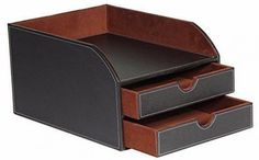 Leather Faux Letter Sorter Tray Storage 2 Trays in Brown #LeatherFauxLetter