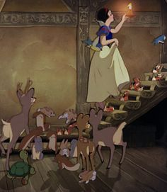 Going up the stairs, Snow White and the Seven Dwarfs (1937)