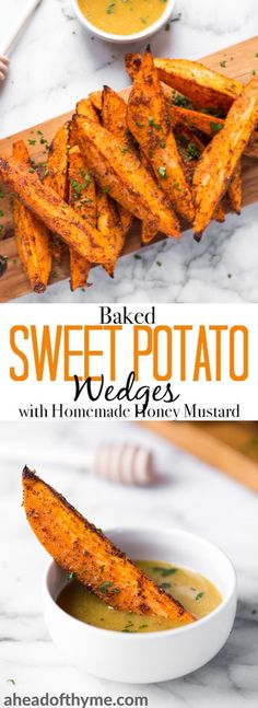 Pair baked sweet potato wedges with warm spices and a homemade honey mustard dipping sauce and serve as an appetizer or side on game day or on any occasion! | aheadofthyme.com ™️®️FollowChanel Monroe