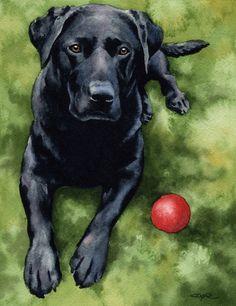 BLACK LAB Dog Signed Art Print by Artist DJ Rogers by k9artgallery