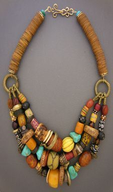 Style, soul, and history . all in a single piece of adornment. Anna Holland designs unique ethnic jewelry and tribal jewelry using contemporary, antique, and ancient beads and artifacts. African Jewelry, Tribal Jewelry, Jewelry Art, Beaded Jewelry, Handmade Jewelry, Beaded Necklace, Jewelry Design, Fashion Jewelry, Unique Jewelry