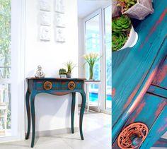 ESTUDIO DELIER | Consola entrada tudor pe, muebles pintados, color azul mas info en tienda online consolas entradas