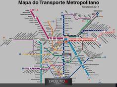 Mapa do Transporte Metropolitano paulistano.