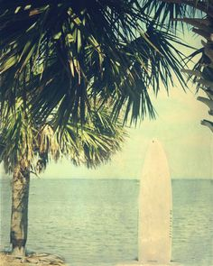 Vintage Beach Surfboard Palm Tree Art Print  by SevenElevenStudios, $25.00