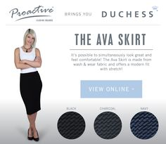 The Ava Skirt - a great waffle stretch corporate skirt Corporate Outfits, Waffle, Stretch Fabric, Ava, Looks Great, Skirts, Clothing, Outfit, Skirt