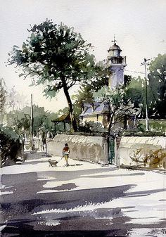 Pornic-street by tony belobrajdic Pen And Watercolor, Watercolor Artists, Watercolor Landscape, Watercolour Painting, Watercolors, Art Aquarelle, Watercolor Architecture, Urban Sketching, Gouache