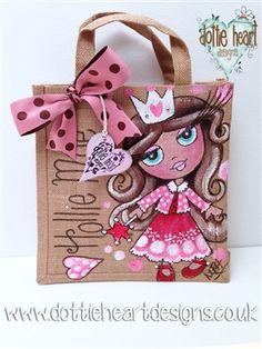 Personalised hand painted kids (claireabella) Jute Bag