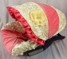 Ivory 3d and Coral Minky Infant Car Seat Cover includes neck strap covers