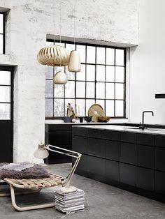 Colourscheme - black bench, polished concrete, white walls