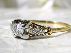 Art Deco Engagement Ring 0.43ctw by LadyRoseVintageJewel on Etsy