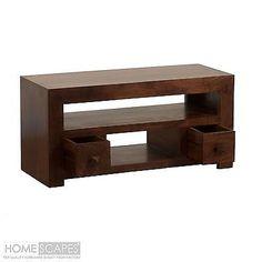 Homescapes Dakota Hardwood Furniture Plasma LED TV Unit 2 Drawer Dark Mango Wood in Home, Furniture & DIY, Furniture, TV & Entertainment Stands | eBay