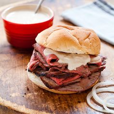 Baltimore is known for its Pit Beef, replete with a well-seasoned, charred crust and a rosy pink interior. The meat is shaved paper thin, piled onto a Kaiser roll, topped with a horseradish-y mayo known as tiger sauce, and finally covered with sliced onions. This recipe is from Chaps Pit Beef on Pulaski Hwy.