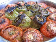 Greek Style stuffed Tomatoes and Peppers (Gemista)