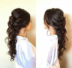 wedding dress simple half up half down wedding hairstyles frisuren haare hair hair long hair short Wedding Hair Down, Wedding Hairstyles For Long Hair, Wedding Hair And Makeup, Hair Makeup, Trendy Hairstyles, Bridesmaid Hairstyles Half Up Half Down, Wedding Veils, Beautiful Hairstyles, Outdoor Wedding Hair