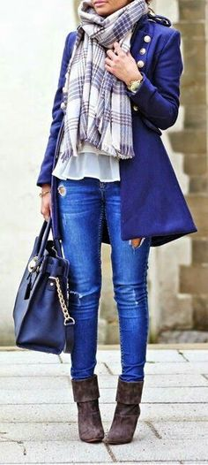 0324a8b0560 Fall Fashion Outfits for Fall   Picture Description Daily New Fashion    Fashion Hippie Loves – Navy Military Inspired Coat + Plaid Scarf + Denim  Blue Jeans ...