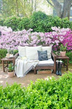Beautiful spring outdoor entertainment area