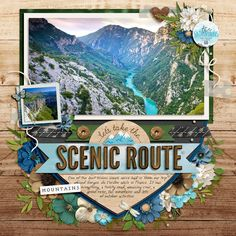 Credits: A scenic route - Epic Views by KCB A scenic Route - Rugged Beach by KCB Template: Singleton 83 - Epic Views by Brook Magee 8x8 Scrapbook Layouts, Scrapbook Templates, Scrapbook Designs, Scrapbook Paper Crafts, Scrapbook Cards, Travel Journal Scrapbook, Vacation Scrapbook, Baby Scrapbook, Travel Journals