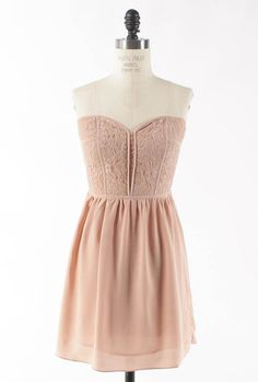 Picture Perfect Lace Bustier Sweetheart Skater Dress in Dust Pink
