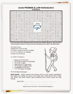Guide Promise & Law Wordsearch - Australia version by Lee Ann 2015 owl-and-toadstool.blogspot.ca