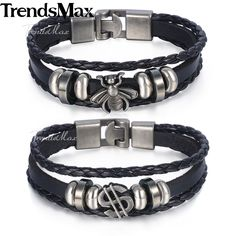 Trendsmax US Dollar Bee Bracelet Wristband Unisex Womens Chain Man-made Leather Braided Rope Black Tone KLBM112 #Affiliate