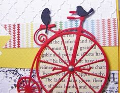 memory box bicycle die   ... Licorice Twist (birds) and Peppermint (bike); antique silver brads