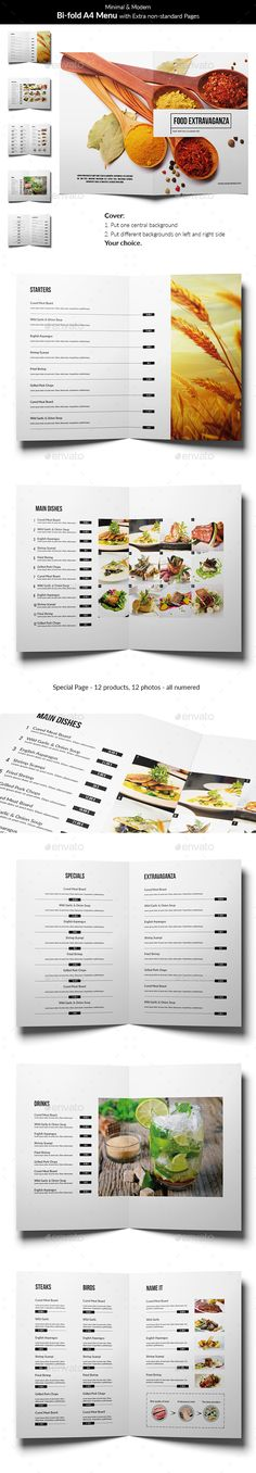 Minimal and Modern Food Menu Template PSD #design Download: http://graphicriver.net/item/minimal-and-modern-food-menu/14322185?ref=ksioks