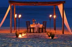 Romantic dinner for two at Al Ceilo Romantic Dinner For Two, Romantic Night, Romantic Places, Romantic Dinners, Beautiful Places, Beach Canopy, Wedding Ceremony Arch, Rustic Wedding Signs, Proposal Ideas
