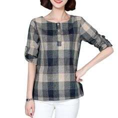>> Click to Buy << New 2017 Plaid Shirt Women Cotton Linen Blouse Long Sleeve Checked Shirts Korean Style Female Casual Tops Blusas Femininas 926F #Affiliate
