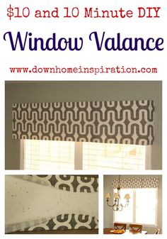 10 Minute DIY Window Valance - Down Home Inspiration Home Projects, Home Crafts, Diy Home Decor, Room Decor, Do It Yourself Furniture, Diy Furniture, Kitchen Furniture, Furniture Design, Repurposed Furniture