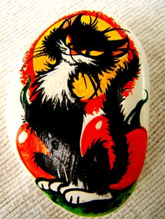 Black Cat Holiday Paperweight  -  Hand Painted - One of a Kind