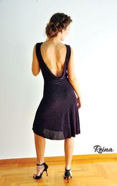 Reina black dress draped with strass