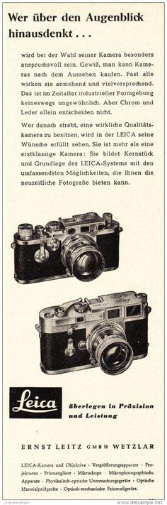 Original-Werbung/ Anzeige 1950 er Jahre - LEICA KAMERA - ca. 65 x 220 mm