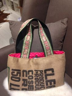 Upcycled Coffee Sack Tote with Elephant Trim by RosieandHiggins