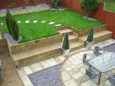 Tips For Great Designs In Your Landscaping Plan - House Garden Landscape Sloped Backyard, Sloped Garden, Backyard Landscaping, Landscaping Retaining Walls, Back Gardens, Small Gardens, Outdoor Gardens, Garden Retaining Wall, Back Garden Design