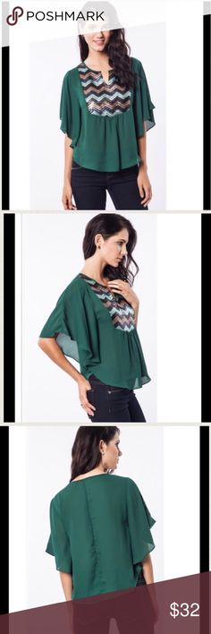 Glitz and Glam Sequined Chevron Striped Top Hunter green top with Dolman Sleeves.  Pretty sequined front. Tops