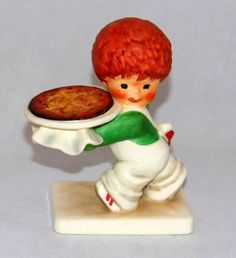 https://flic.kr/p/MpNgZE | Vintage Goebel Red Heads Figurine By Charlot Byj Titled Nothing Beats A Pizza, 4.75 Inches High, Made In West Germany
