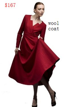 Teenloveme 2013 V-neck Long Sleeves Sheath Long Wool Coat Big Pendulum, Red