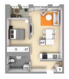 This small apartment with total area of 47 sqm in Stockholm is quite different from typical Scandinavian interiors that we love, but it looks great ✌Pufikhomes - source of home inspiration Small Apartment Plans, Small Apartment Layout, Studio Apartment Floor Plans, Small Apartments, Modern Small House Design, Tiny House Design, Small House Plans, House Floor Plans, Tyni House
