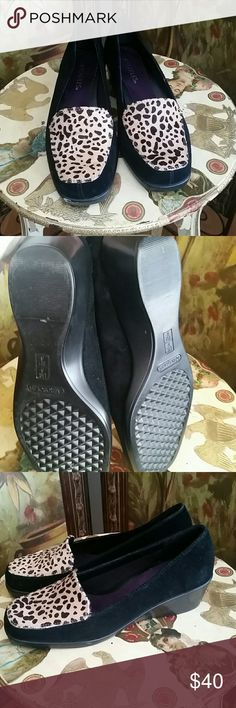 Leppard Slip-On Gorgeous casual slip-on shoe. Can also be dressy. They are to small for me. There is a small scuff mark on the right front toe. Have a small wedge heel. Perfect with jeans, or a dress! AEROSOLES Shoes Flats & Loafers