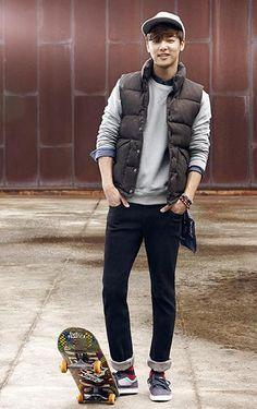 Kang Min Hyuk (CNBlue) sports great casual style. #streetstyle