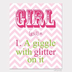 """Pink Girls Quote Print Wall Art, Girl A Giggle With Glitter, PERSONALIZED Chevron Hot Pink Lime Green White Kids Room Decor ofCarola 8x10"""""""